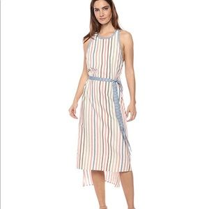 Summer Multi Striped Sleeveless Cotton Linen Dress